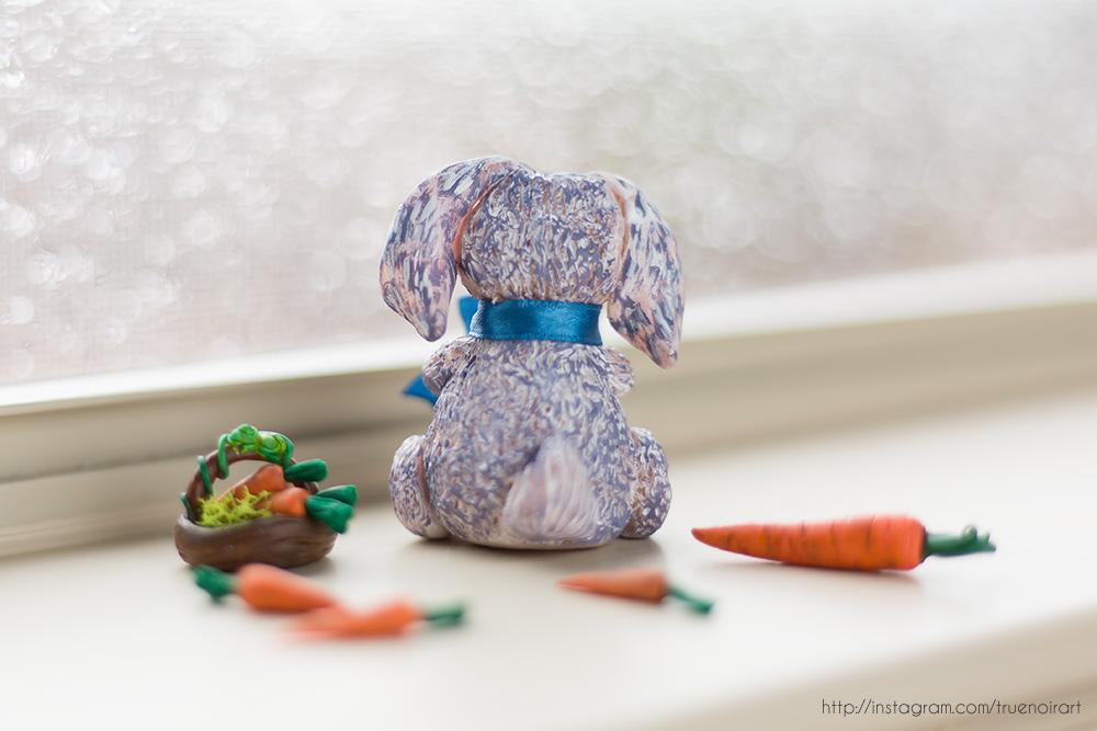 Purple Bunny Figurine, polymer clay 02 by NoirArt