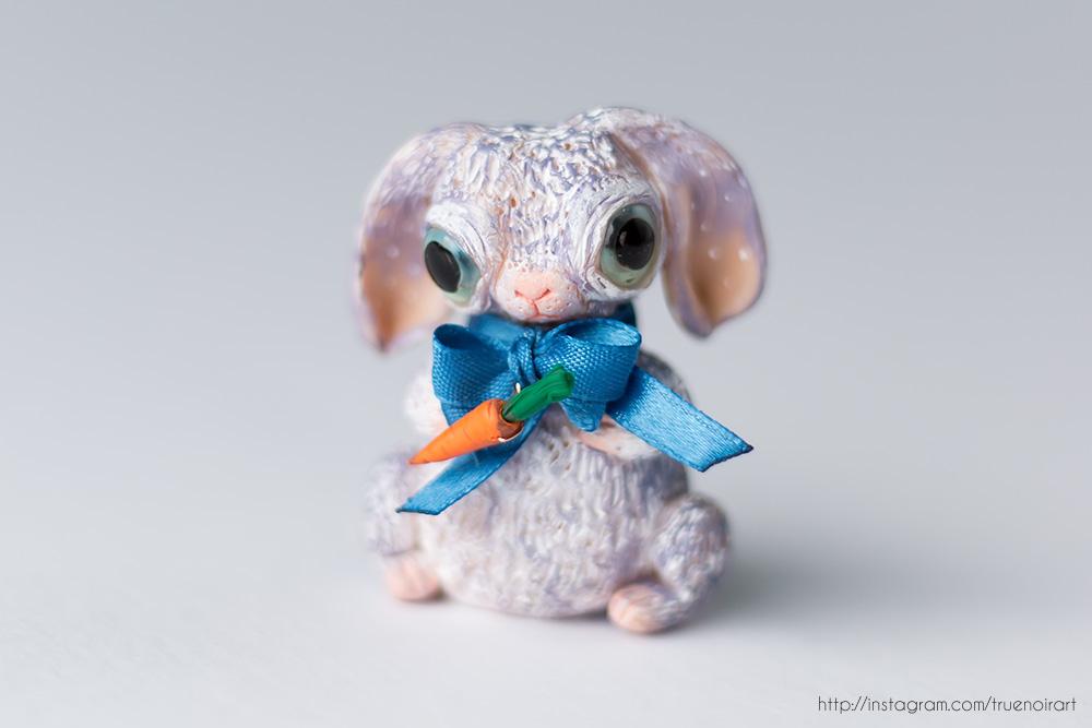 Purple Bunny Figurine, polymer clay 04 by NoirArt