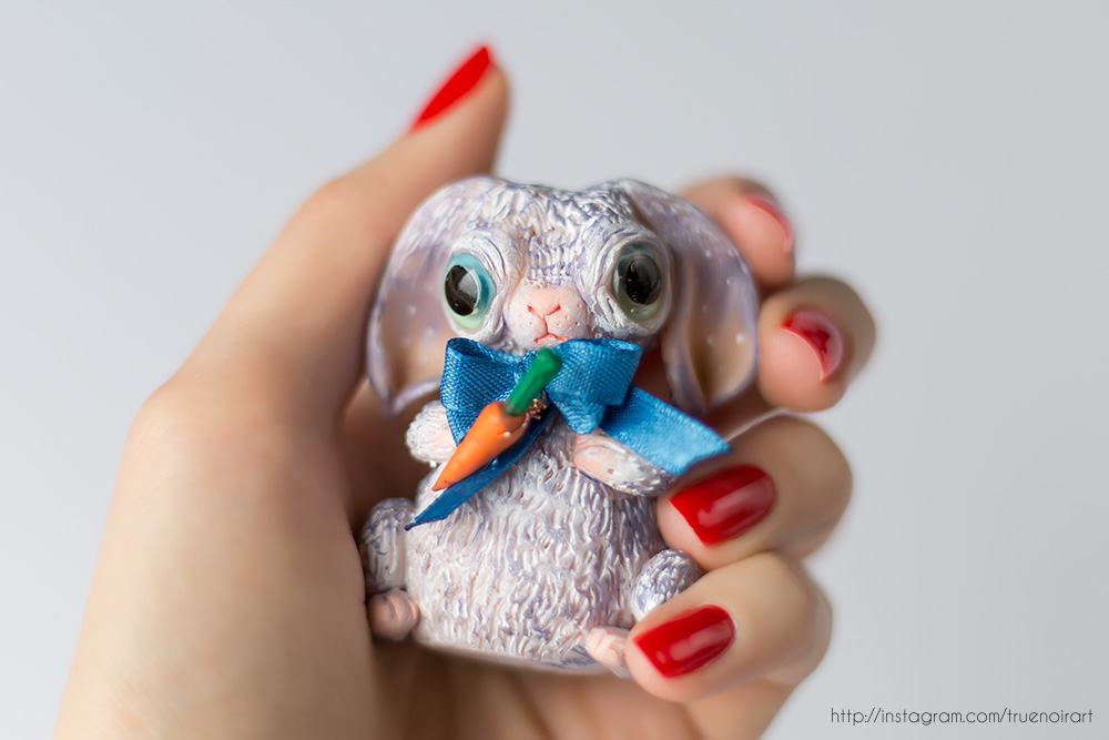 Purple Bunny Figurine, polymer clay 05 by NoirArt