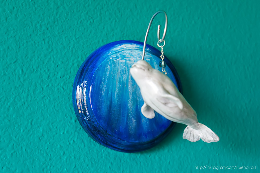 Beluga whale wall sculpture, mixed media by NoirArt