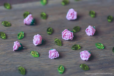 Miniature rose charms and beads, polymer clay