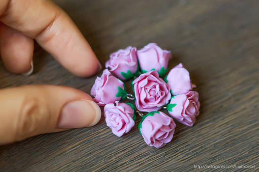 Miniature rose charms, polymer clay