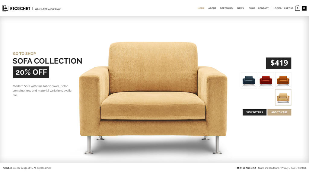 Ricochet Interior Design and Shop PSD Template by pixel-industry