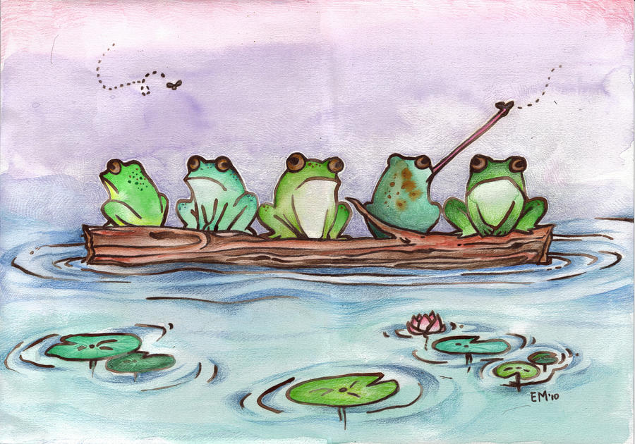 five frogs sitting on a log song