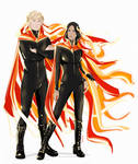 Girl (and boy) on fire by littleredlynx