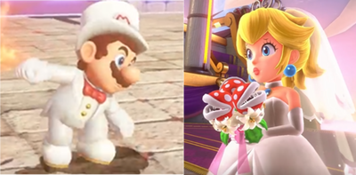 Mario and Peach in wedding outfits by PigXChloe
