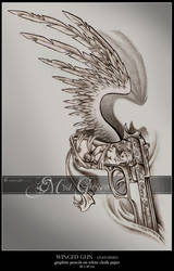 Winged Gun Tattoo by mcr-raven