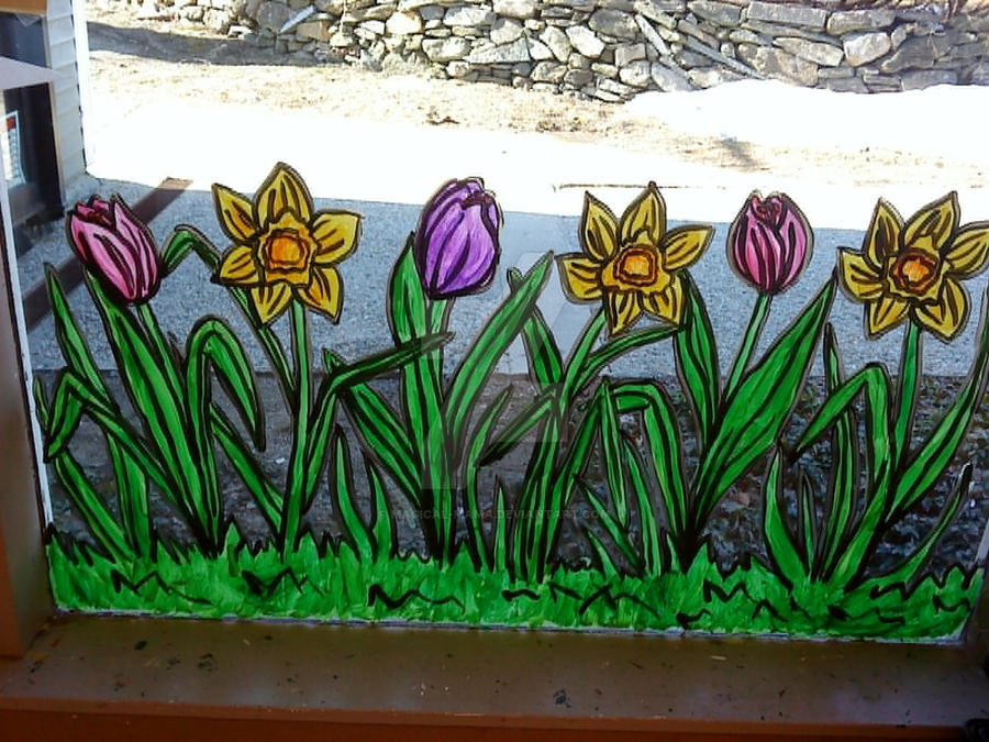 Spring Window Painting 2001 2 By Magical Mama