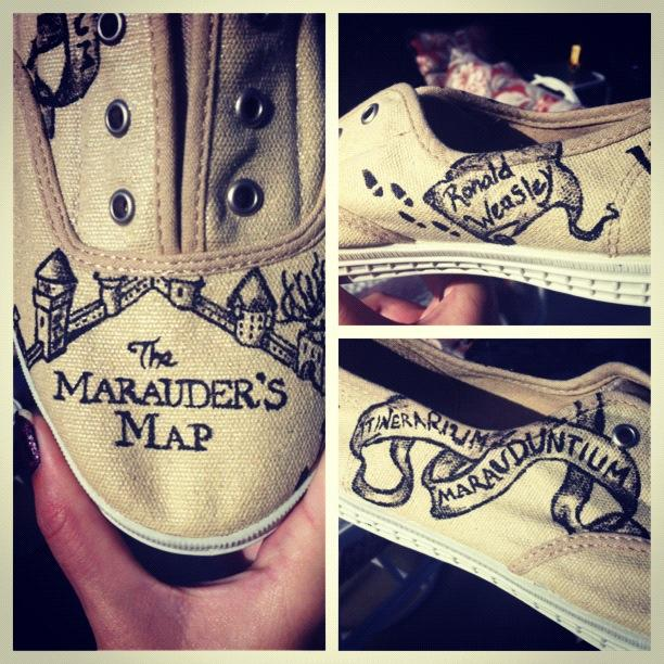 Harry Potter Marauders Map Hand Painted Shoes By Chloebdesigns