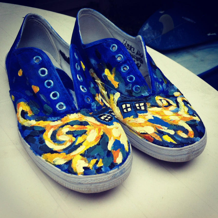 doctor who exploding tardis custom painted shoes by