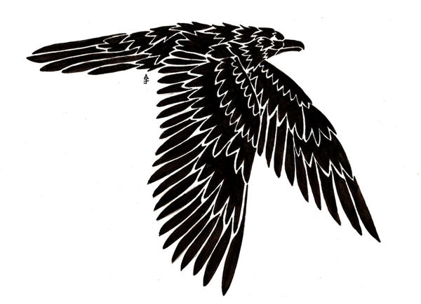 raven tattoo. Flying Raven Tattoo by