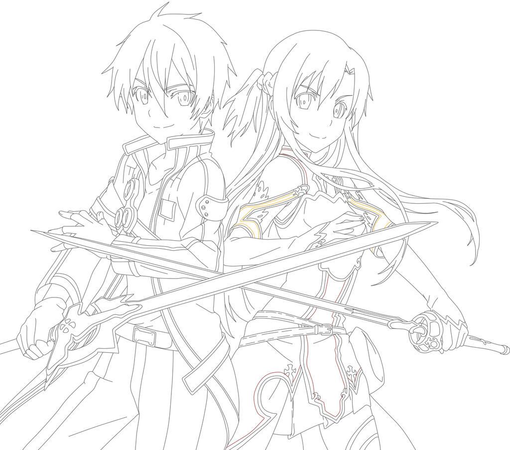 Kirito sword art online pencil coloring pages for Sword art online coloring pages