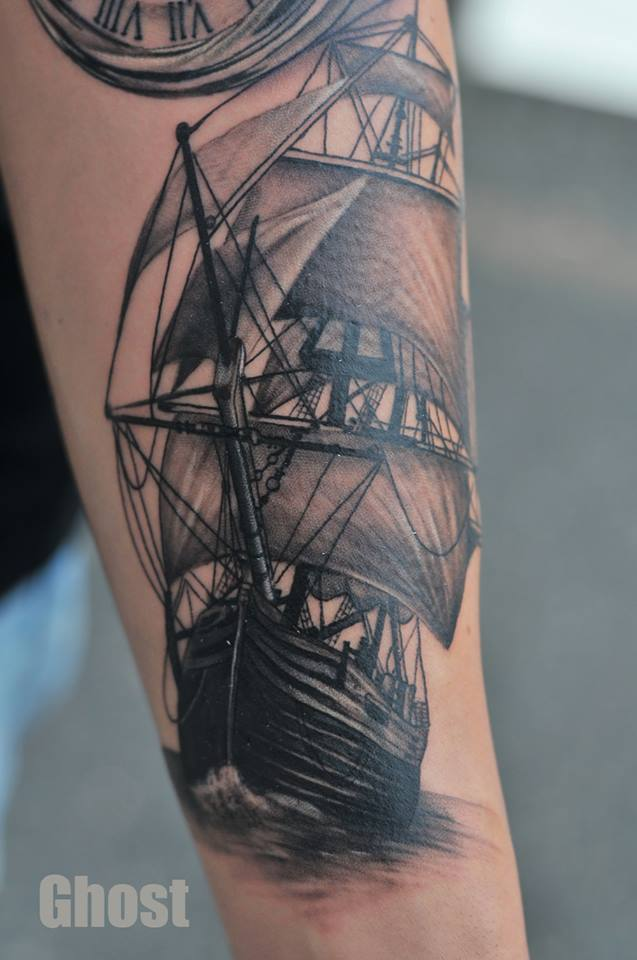 old ship tattoo by mil5 on deviantart