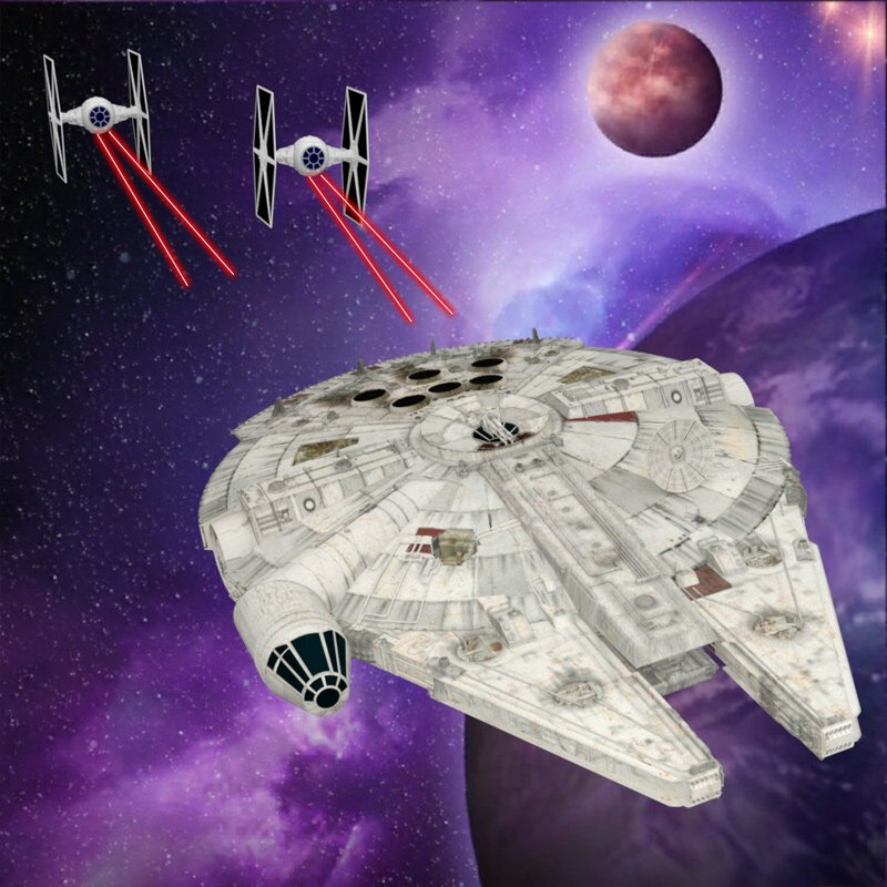 Millennium Falcon Dogfight by VanishingPointInc