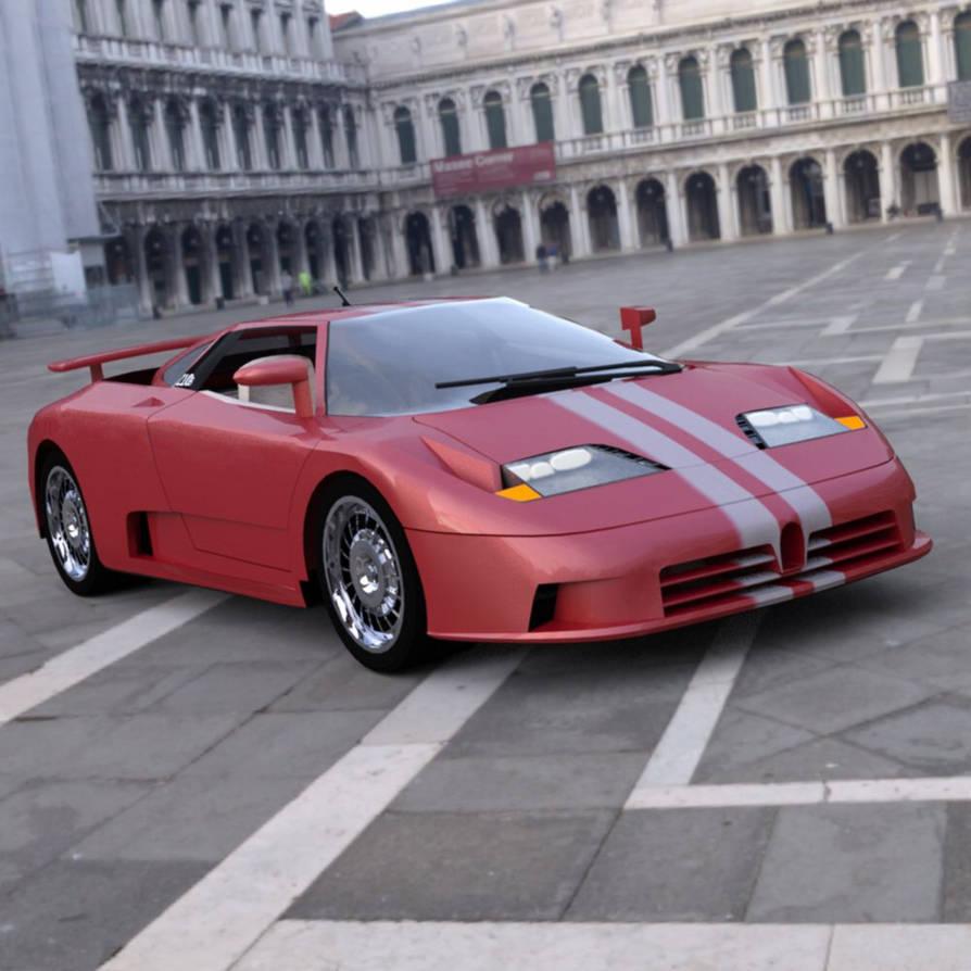 Bugatti EB 110 In a Square by VanishingPointInc