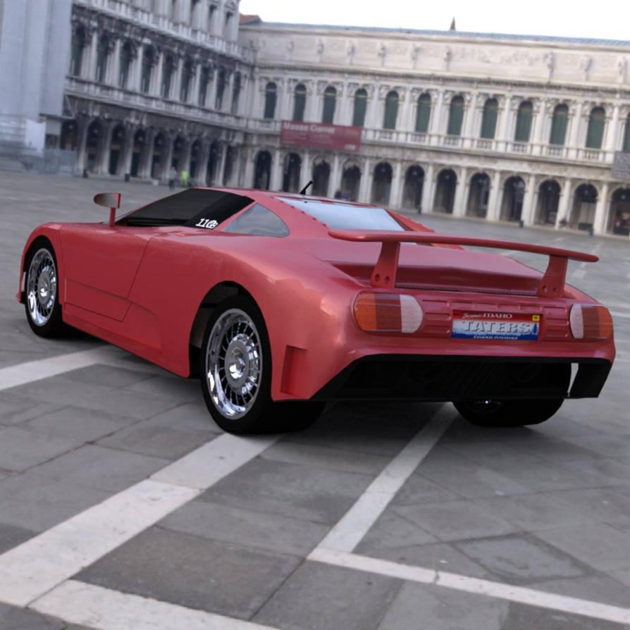 Bugatti EB 110 In a Square 2 by VanishingPointInc