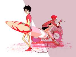 James Potter, Lily Evans Surfer/Biker AU