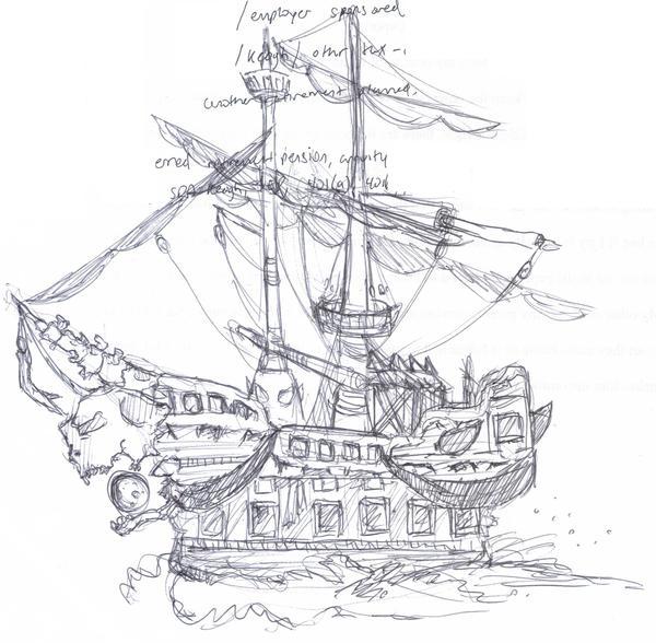 ghost pirate ship sketch. Black Bedroom Furniture Sets. Home Design Ideas