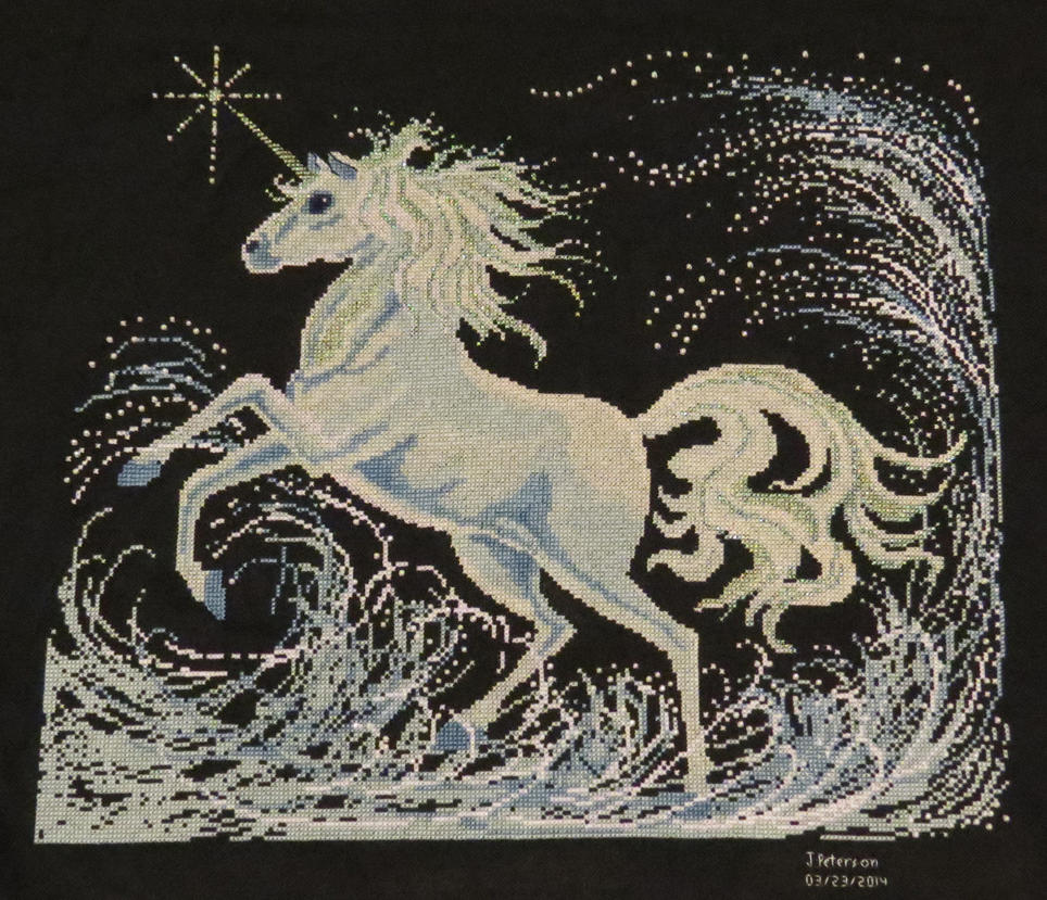 Unicorn Cross Stitch - FINISHED by SorrowsMadness