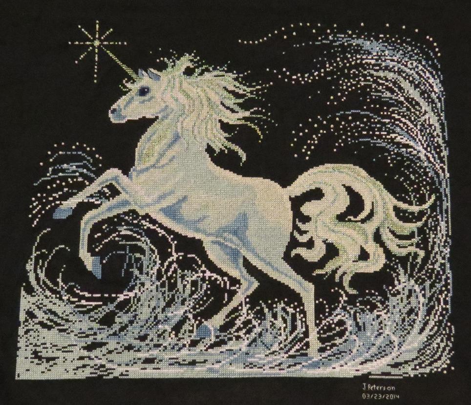 Unicorn Cross Stitch - FINISHED by SorrowsMadness