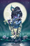 Little Krishna playing his flute