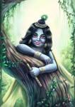 Krishna behind the tree