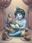 Krishna and monkeys stealing butter iPad ProCreate by LianaBhakti