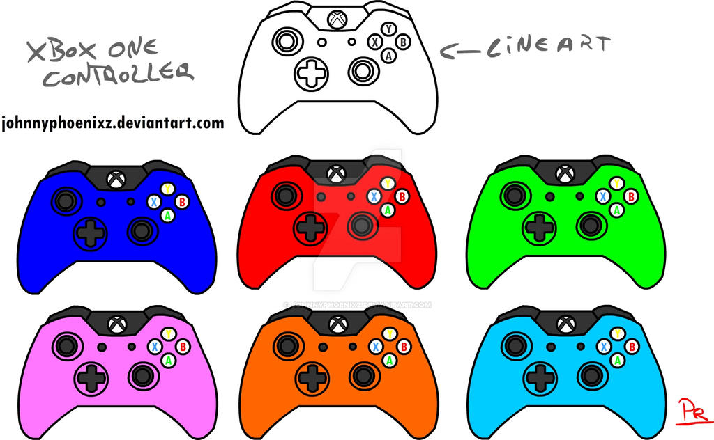 D Line Drawings Xbox One : Xbox one controller line art color variations by