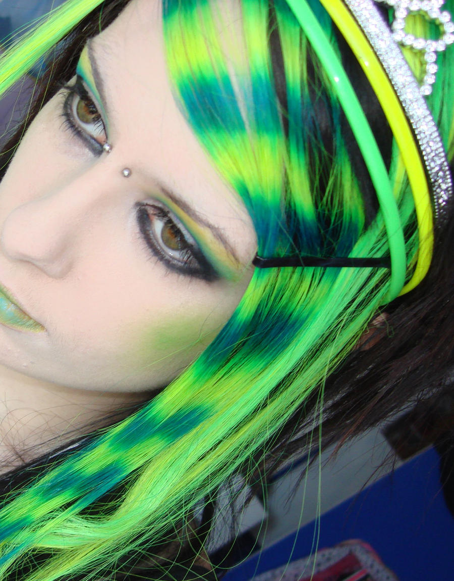 Neon Yellow and Green Hair