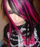 Pink and Black Striped Hair