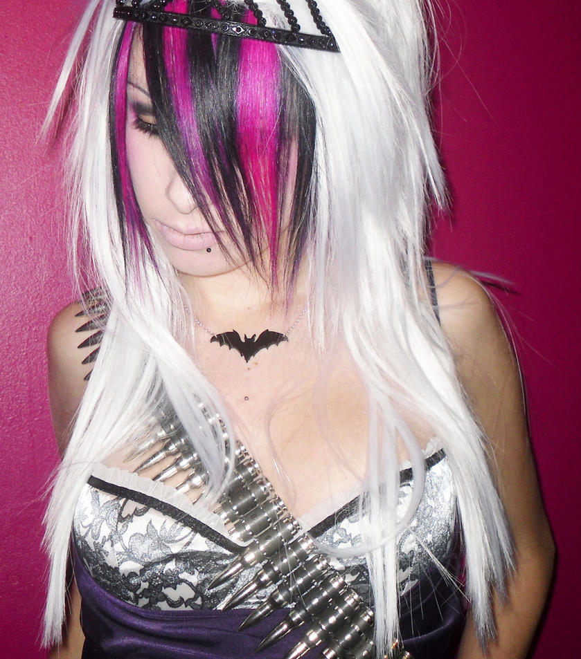 Pink Black and white hair by CandyAcidHair