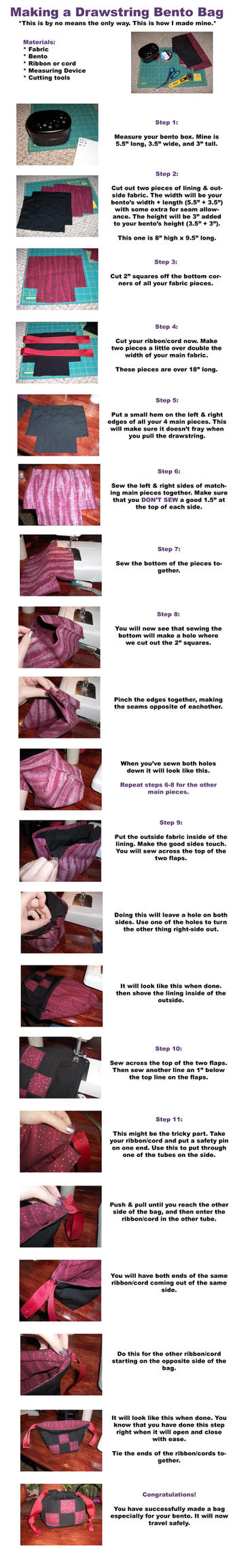 Drawstring Bento Bag by Geisha-Neko