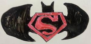 Whiteboard Shenanigans -01) Superman-Batman Emblem by CyberPFalcon