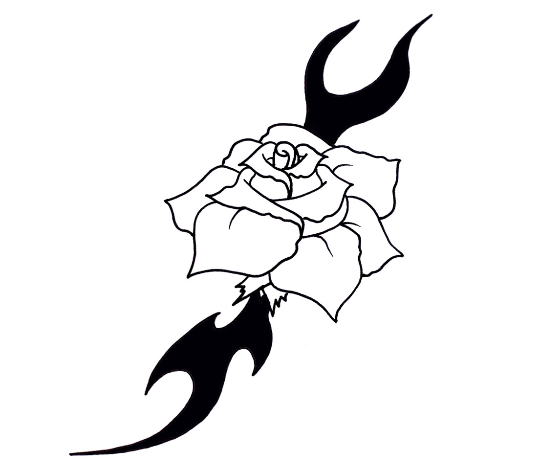 Tribal rose by nodyce on deviantart for Tribal rose tattoo designs