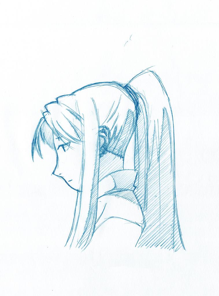 sad Winry Rockbell from Full Metal Alchemist