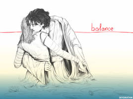 Rey and Kylo Ren - balance by Skydrathik