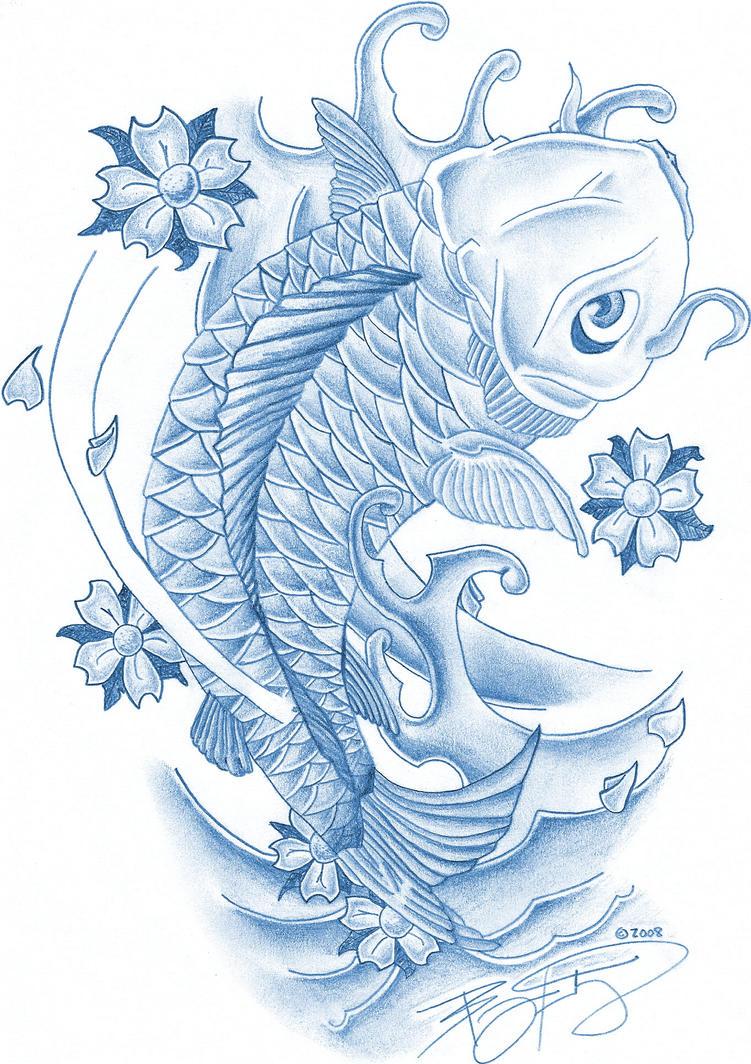 Japanese koi fish tattoo koi fish with koi fish tattoo coi for Blue coy fish