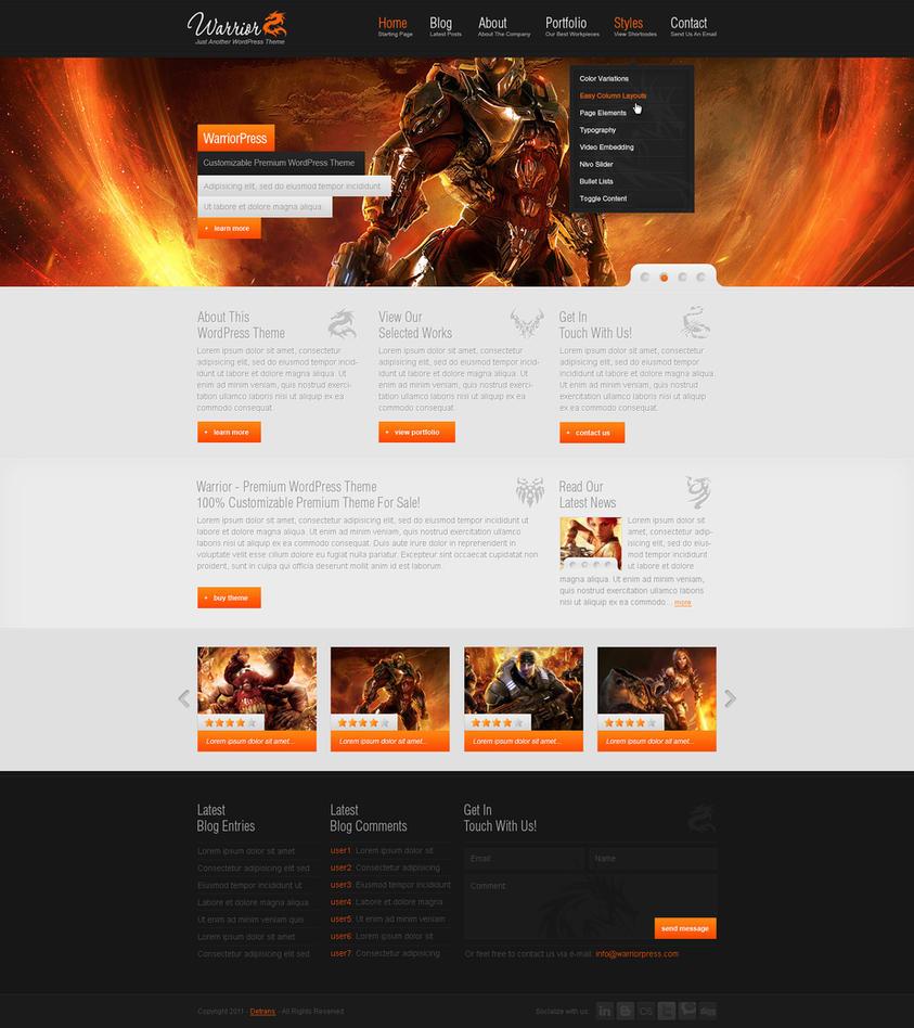 warrior   wordpress theme by detrans d3b6kpg Web Interface Roundup of Web Design Inspiration