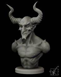 Demon Bust WIP by Art-of-Akrosh