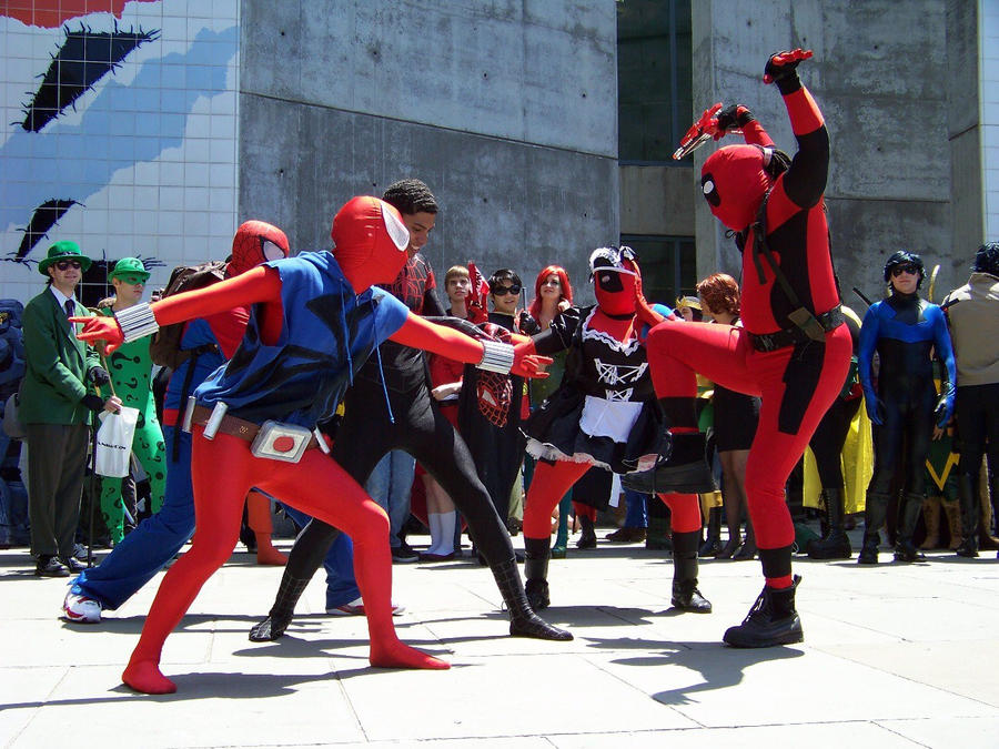 Fanime 2012 spider man vs deadpool by clawmaster