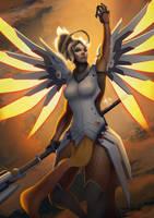 Overwatch - Mercy fanart by arxers