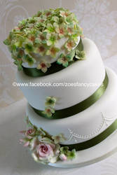 fancy white and green cake