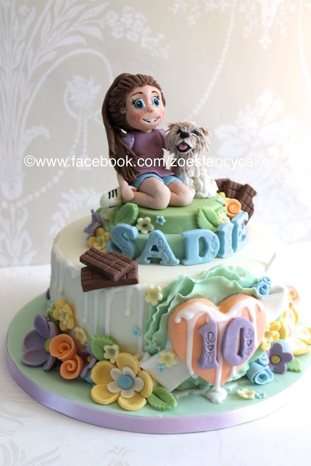 10th Birthday Cake Girl And Her Dog By Zoesfancycakes