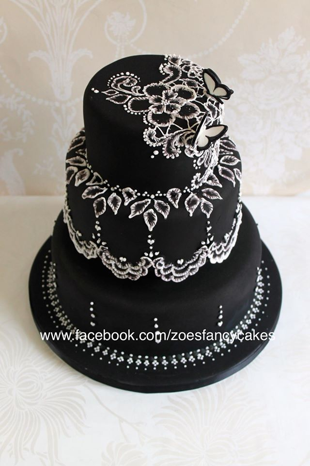 Black and white brush embroidery cake tutorial by