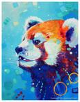 Red Panda In Blue