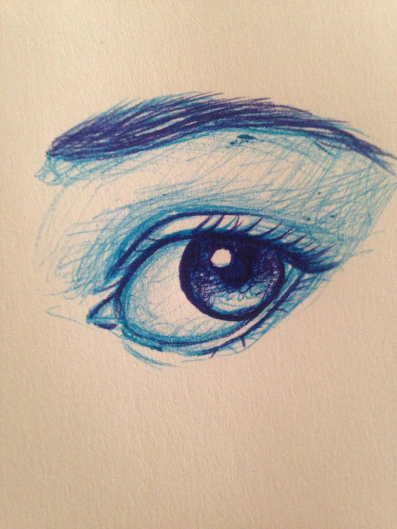 Pen drawn eyes: Blue by GirlWithThePencil