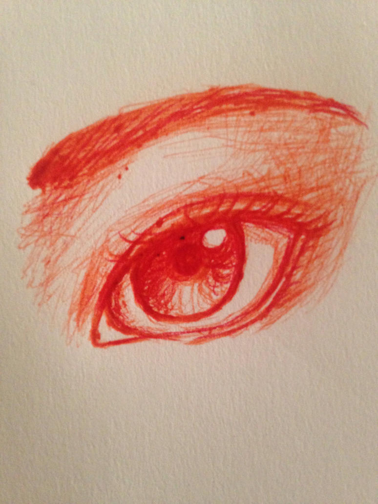 Pen drawn eyes: Orange/Red by GirlWithThePencil