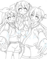 vocaloid lineart by harmpink456
