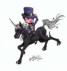 Riding a Black Unicorn Down by lady-elf
