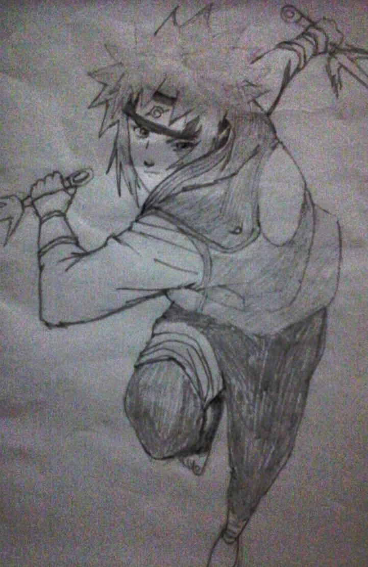 Minato 4th hokage pencil sketch by merkvmerkv